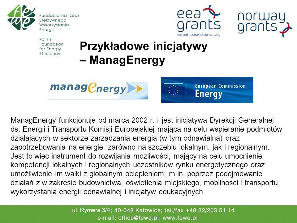 Przykładowe inicjatywy – ManagEnergy ManagEnergy funkcjonuje od marca 2002 r. i jest inicjatywą Dyrekcji Generalnej ds. Energii i Transportu Komisji E