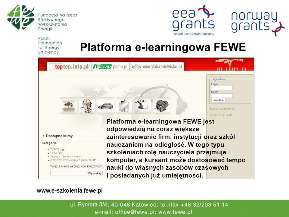 Platforma e-learningowa FEWE www.e-szkolenia.fewe.pl Platforma e-learningowa FEWE jest odpowiedzią na coraz większe zainteresowanie firm, instytucji o