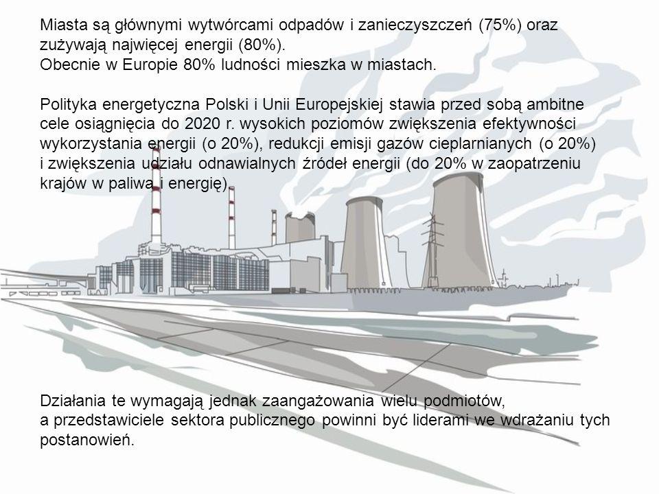 Miasta są głównymi wytwórcami odpadów i zanieczyszczeń (75%) oraz zużywają najwięcej energii (80%). Obecnie w Europie 80% ludności mieszka w miastach.