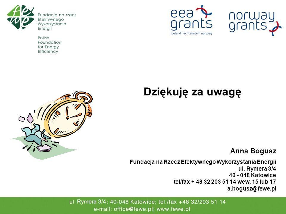 Dziękuję za uwagę Anna Bogusz Fundacja na Rzecz Efektywnego Wykorzystania Energii ul. Rymera 3/4 40 - 048 Katowice tel/fax + 48 32 203 51 14 wew. 15 l