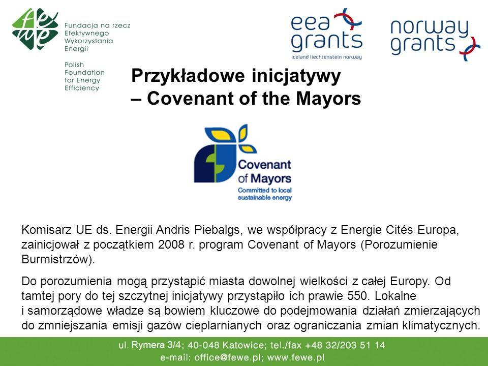 Przykładowe inicjatywy – Covenant of the Mayors Komisarz UE ds. Energii Andris Piebalgs, we współpracy z Energie Cités Europa, zainicjował z początkie