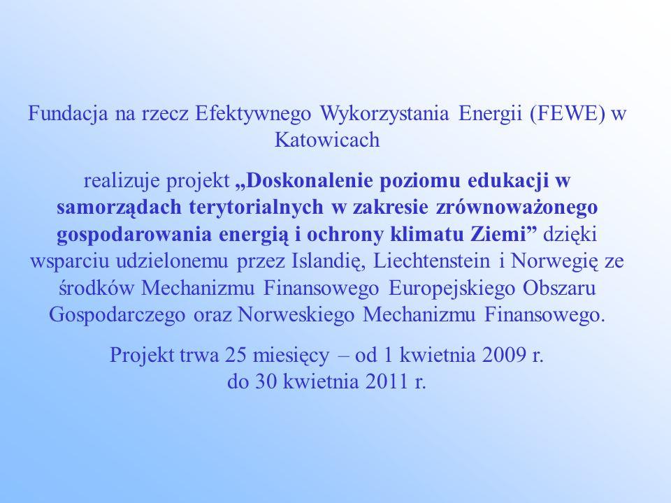 Fundacja na rzecz Efektywnego Wykorzystania Energii (FEWE) w Katowicach realizuje projekt Doskonalenie poziomu edukacji w samorządach terytorialnych w zakresie zrównoważonego gospodarowania energią i ochrony klimatu Ziemi dzięki wsparciu udzielonemu przez Islandię, Liechtenstein i Norwegię ze środków Mechanizmu Finansowego Europejskiego Obszaru Gospodarczego oraz Norweskiego Mechanizmu Finansowego.