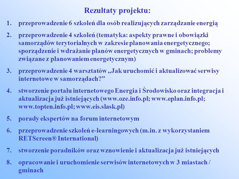 Rezultaty projektu: 1.przeprowadzenie 6 szkoleń dla osób realizujących zarządzanie energią 2.przeprowadzenie 4 szkoleń (tematyka: aspekty prawne i obowiązki samorządów terytorialnych w zakresie planowania energetycznego; sporządzenie i wdrażanie planów energetycznych w gminach; problemy związane z planowaniem energetycznym) 3.przeprowadzenie 4 warsztatów Jak uruchomić i aktualizować serwisy internetowe w samorządach.