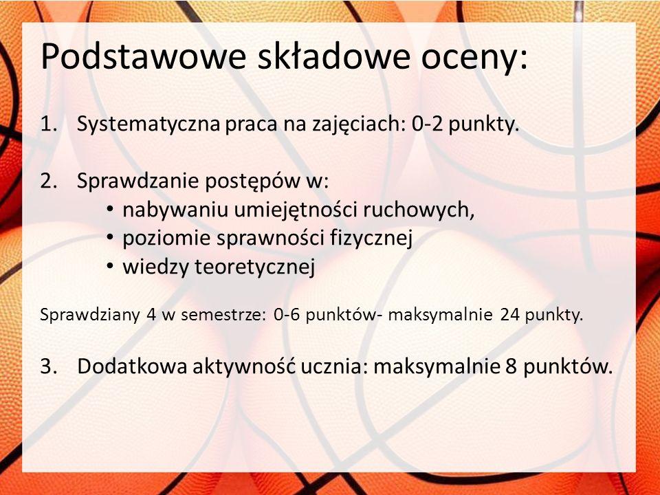 Podstawowe składowe oceny: 1.Systematyczna praca na zajęciach: 0-2 punkty. 2.Sprawdzanie postępów w: nabywaniu umiejętności ruchowych, poziomie sprawn