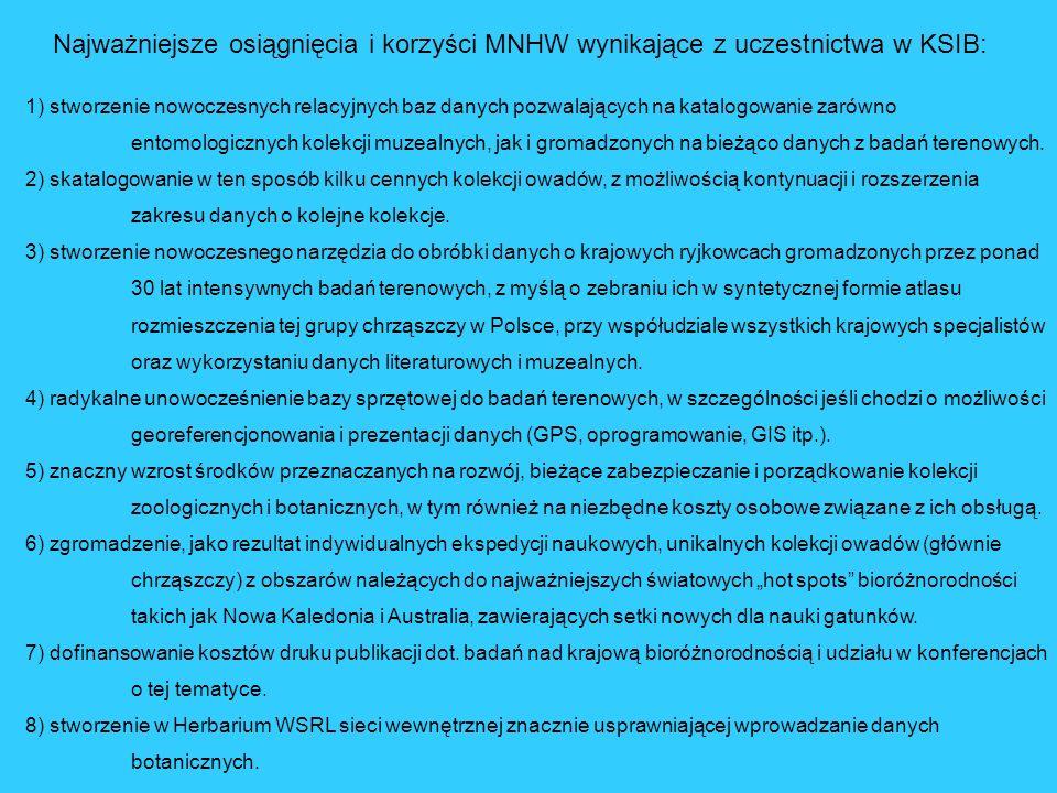 Najważniejsze osiągnięcia i korzyści MNHW wynikające z uczestnictwa w KSIB: 1) stworzenie nowoczesnych relacyjnych baz danych pozwalających na katalogowanie zarówno entomologicznych kolekcji muzealnych, jak i gromadzonych na bieżąco danych z badań terenowych.