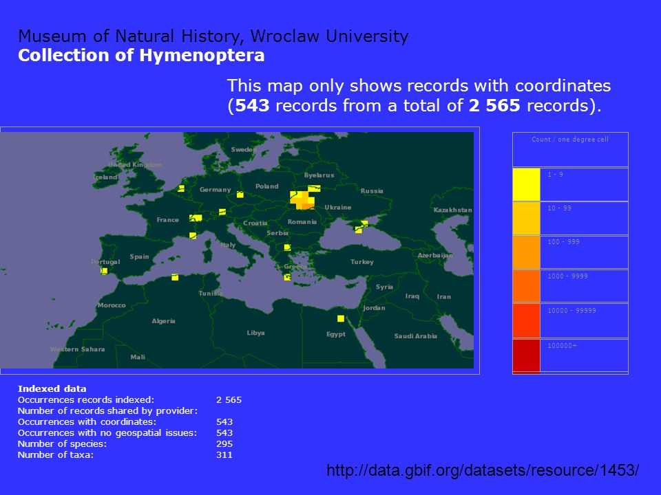 Museum of Natural History, Wroclaw University Curculionoidea of Poland http://data.gbif.org/datasets/resource/1454/ Count / one degree cell 1 - 9 10 - 99 100 - 999 1000 - 9999 10000 - 99999 100000+ Indexed data Occurrences records indexed:4 333 Number of records shared by provider: Occurrences with coordinates:0 Occurrences with no geospatial issues: Number of species:414 Number of taxa:556 No georeferenced records currently available for Museum of Natural History, Wroclaw University, Curculionoidea of Poland