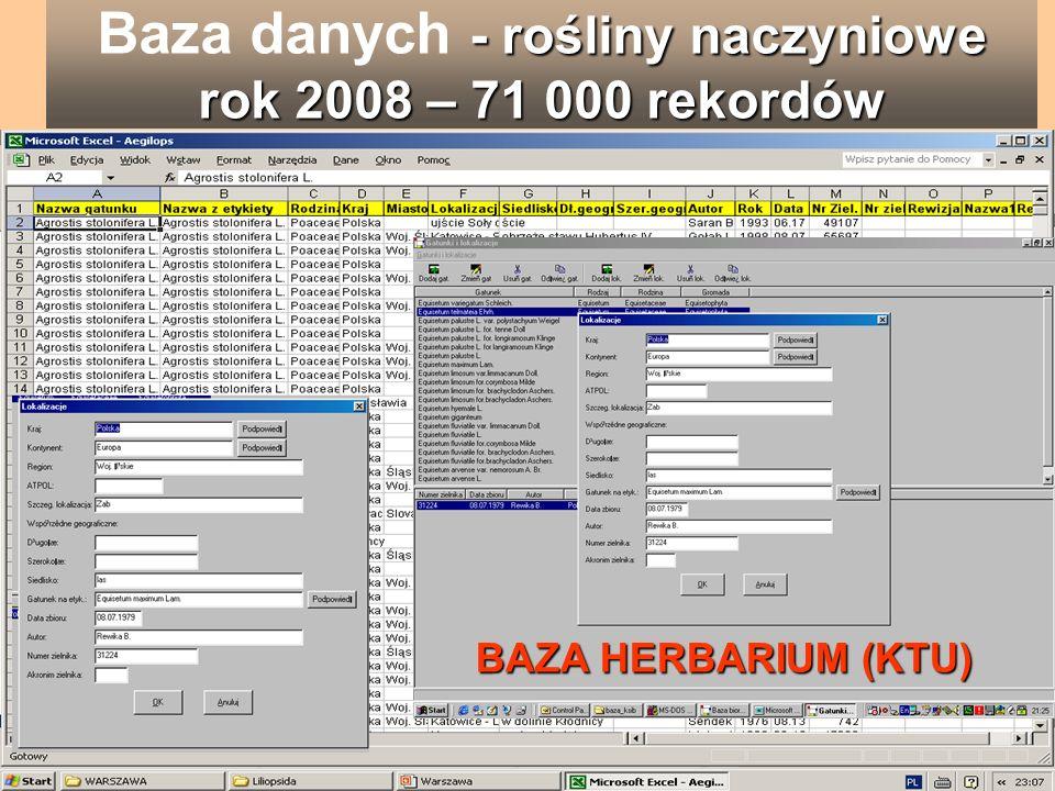 - rośliny naczyniowe rok 2008 – 71 000 rekordów Baza danych - rośliny naczyniowe rok 2008 – 71 000 rekordów BAZA HERBARIUM (KTU)