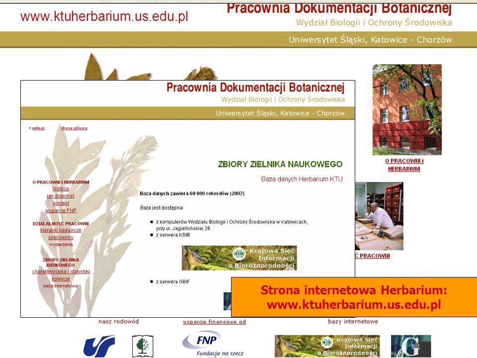 www.ktuherbarium.us.edu.pl Strona internetowa Herbarium: www.ktuherbarium.us.edu.pl