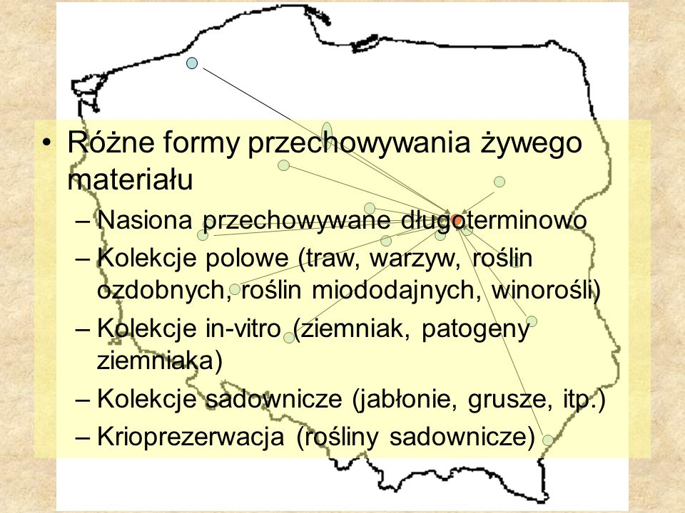 Różne formy przechowywania żywego materiału –Nasiona przechowywane długoterminowo –Kolekcje polowe (traw, warzyw, roślin ozdobnych, roślin miododajnyc