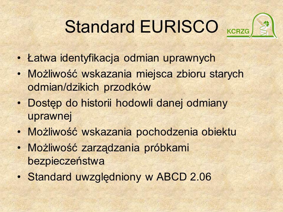 Standard EURISCO Łatwa identyfikacja odmian uprawnych Możliwość wskazania miejsca zbioru starych odmian/dzikich przodków Dostęp do historii hodowli da