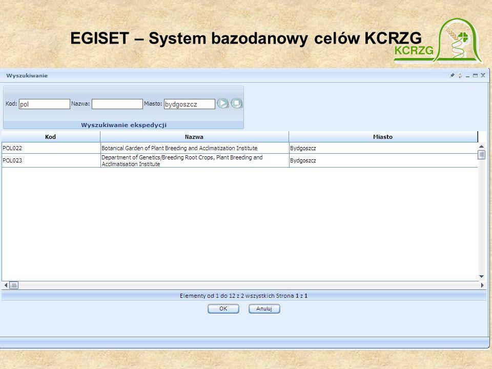 EGISET – System bazodanowy celów KCRZG