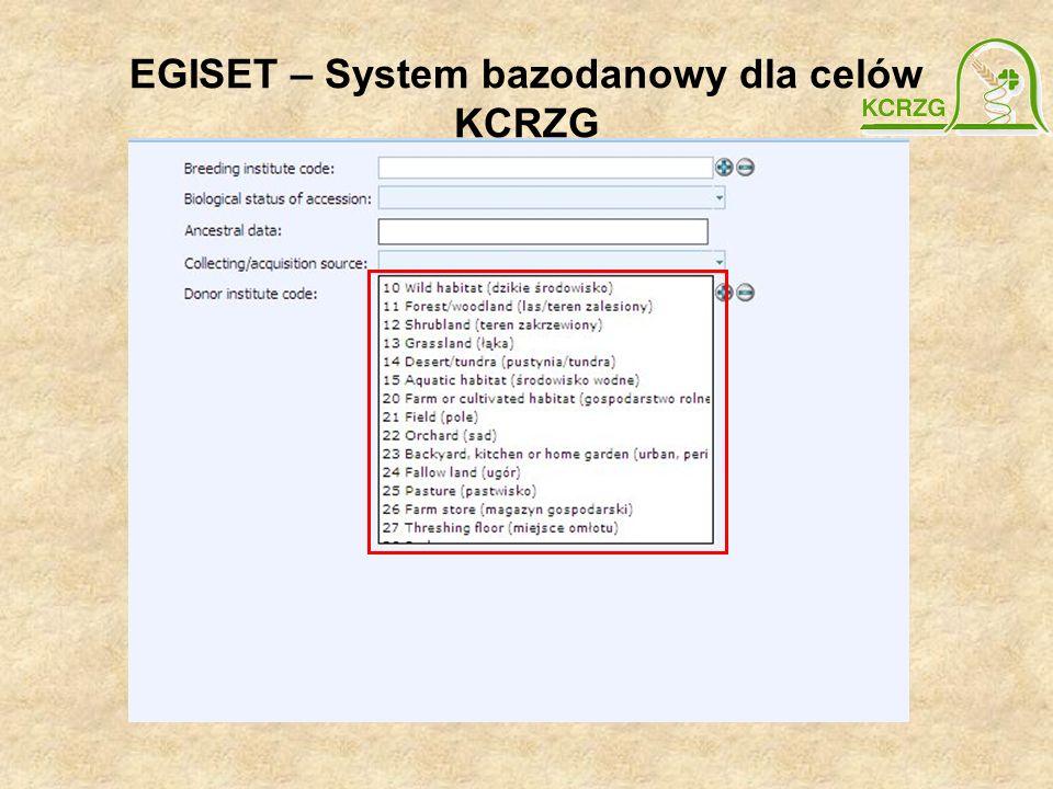 EGISET – System bazodanowy dla celów KCRZG