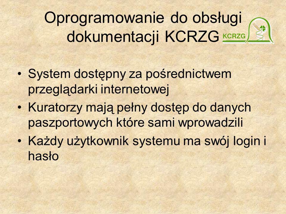 Oprogramowanie do obsługi dokumentacji KCRZG System dostępny za pośrednictwem przeglądarki internetowej Kuratorzy mają pełny dostęp do danych paszportowych które sami wprowadzili Każdy użytkownik systemu ma swój login i hasło