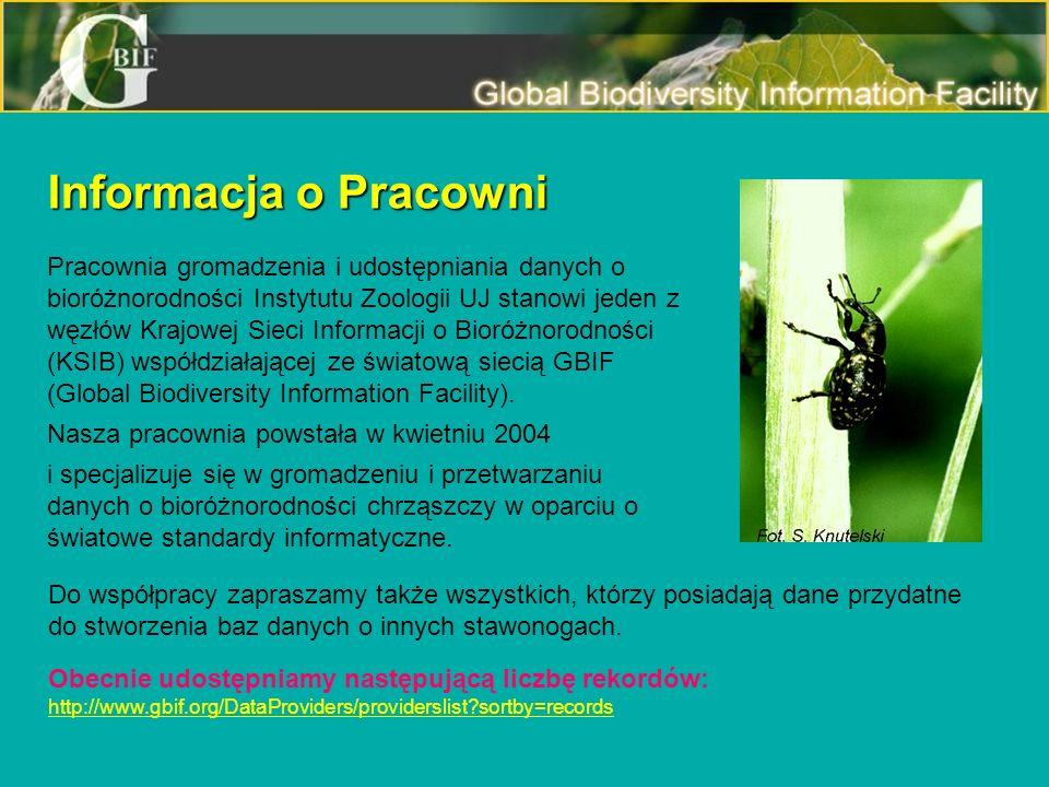 Informacja o Pracowni Pracownia gromadzenia i udostępniania danych o bioróżnorodności Instytutu Zoologii UJ stanowi jeden z węzłów Krajowej Sieci Info