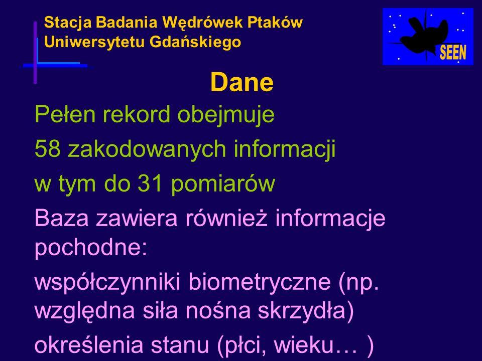Stacja Badania Wędrówek Ptaków Uniwersytetu Gdańskiego Pełen rekord obejmuje 58 zakodowanych informacji w tym do 31 pomiarów Baza zawiera również info