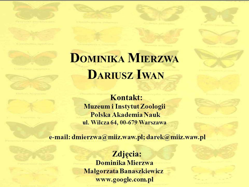 D OMINIKA M IERZWA D ARIUSZ I WAN Kontakt: Muzeum i Instytut Zoologii Polska Akademia Nauk ul. Wilcza 64, 00-679 Warszawa e-mail: dmierzwa@miiz.waw.pl