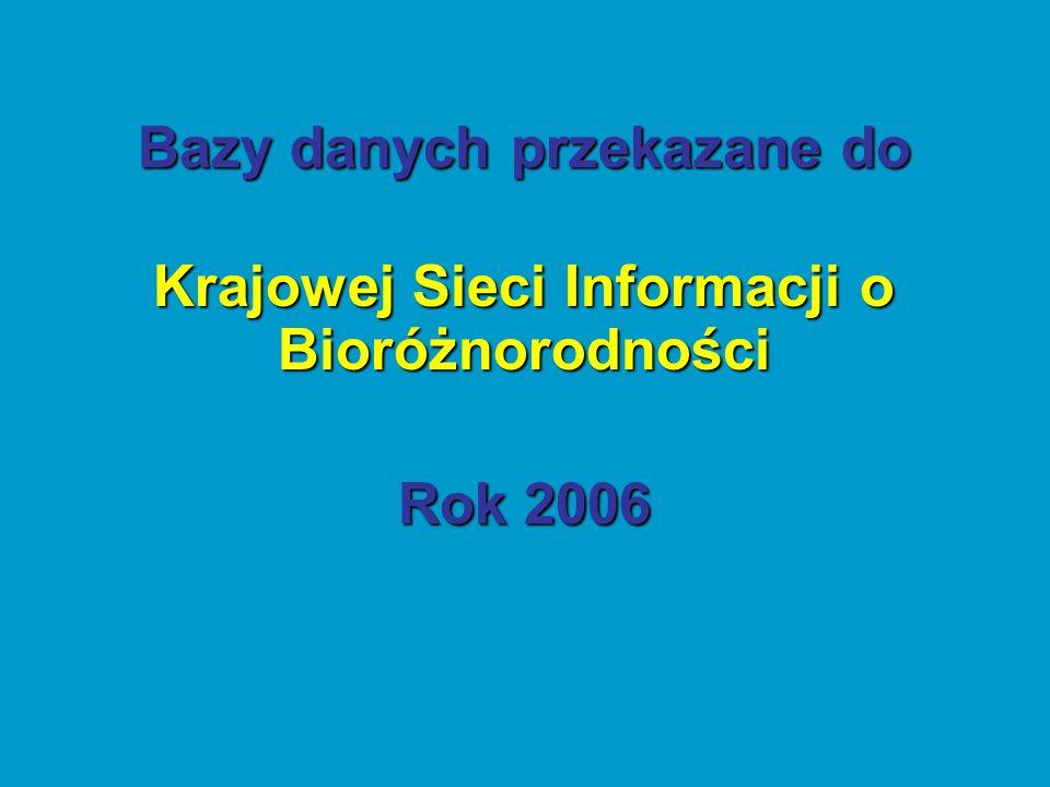 Bazy danych przekazane do Krajowej Sieci Informacji o Bioróżnorodności Rok 2006