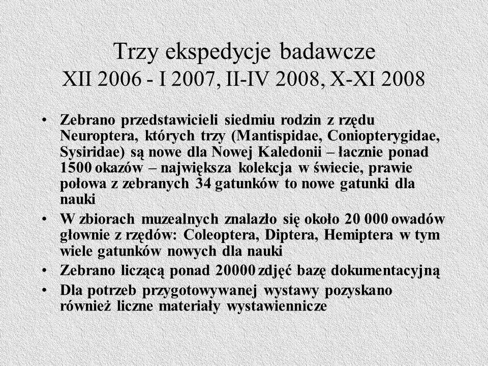Trzy ekspedycje badawcze XII 2006 - I 2007, II-IV 2008, X-XI 2008 Zebrano przedstawicieli siedmiu rodzin z rzędu Neuroptera, których trzy (Mantispidae, Coniopterygidae, Sysiridae) są nowe dla Nowej Kaledonii – łacznie ponad 1500 okazów – największa kolekcja w świecie, prawie połowa z zebranych 34 gatunków to nowe gatunki dla nauki W zbiorach muzealnych znalazło się około 20 000 owadów głownie z rzędów: Coleoptera, Diptera, Hemiptera w tym wiele gatunków nowych dla nauki Zebrano liczącą ponad 20000 zdjęć bazę dokumentacyjną Dla potrzeb przygotowywanej wystawy pozyskano również liczne materiały wystawiennicze