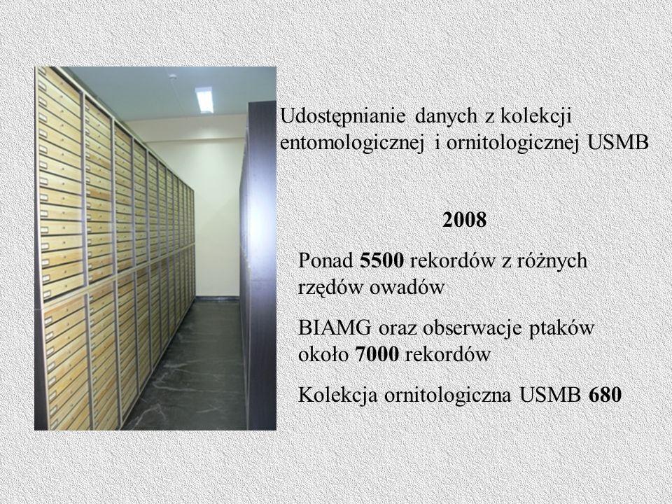 Udostępnianie danych z kolekcji entomologicznej i ornitologicznej USMB 2008 Ponad 5500 rekordów z różnych rzędów owadów BIAMG oraz obserwacje ptaków około 7000 rekordów Kolekcja ornitologiczna USMB 680