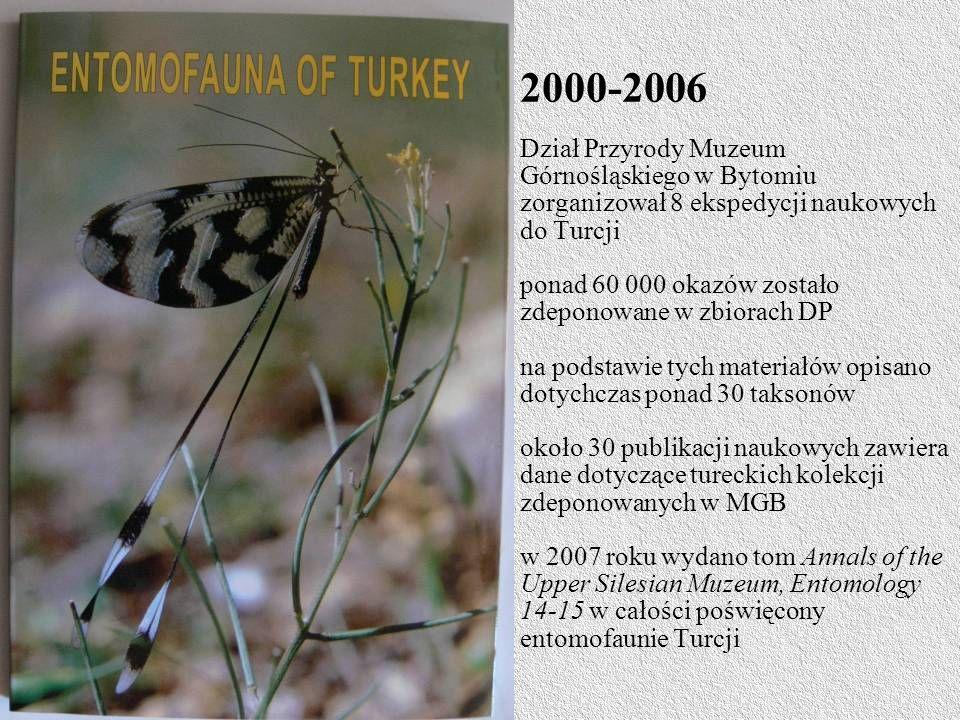 2000-2006 Dział Przyrody Muzeum Górnośląskiego w Bytomiu zorganizował 8 ekspedycji naukowych do Turcji ponad 60 000 okazów zostało zdeponowane w zbiorach DP na podstawie tych materiałów opisano dotychczas ponad 30 taksonów około 30 publikacji naukowych zawiera dane dotyczące tureckich kolekcji zdeponowanych w MGB w 2007 roku wydano tom Annals of the Upper Silesian Muzeum, Entomology 14-15 w całości poświęcony entomofaunie Turcji