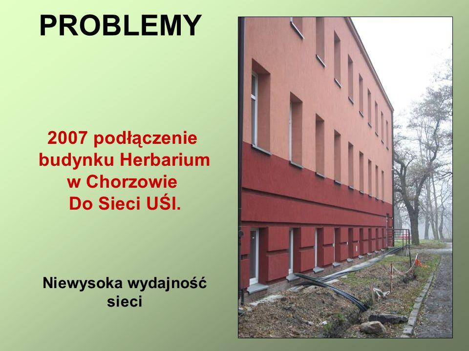 2007 podłączenie budynku Herbarium w Chorzowie Do Sieci UŚl. Niewysoka wydajność sieci PROBLEMY