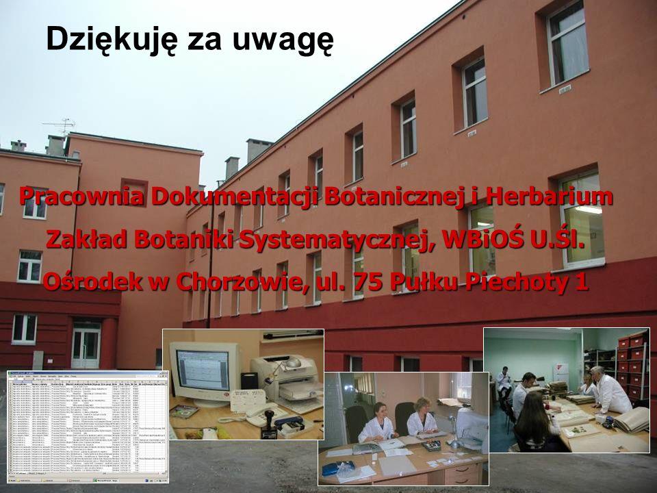 Pracownia Dokumentacji Botanicznej i Herbarium Zakład Botaniki Systematycznej, WBiOŚ U.Śl.