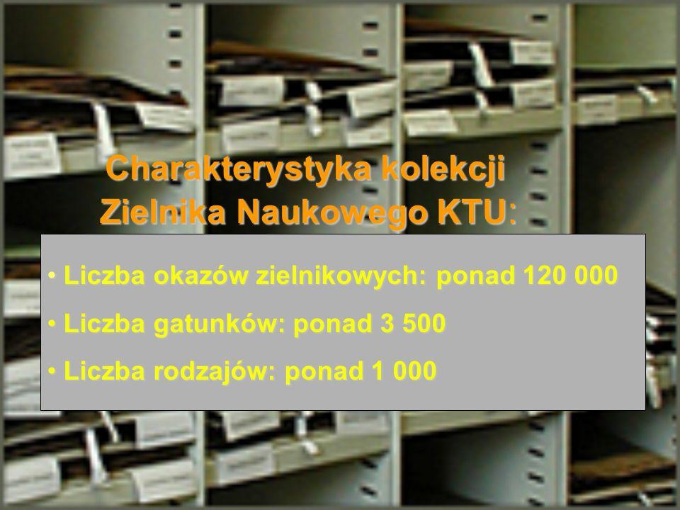 Charakterystyka kolekcji Zielnika Naukowego KTU : Liczba okazów zielnikowych: ponad 120 000 Liczba okazów zielnikowych: ponad 120 000 Liczba gatunków: