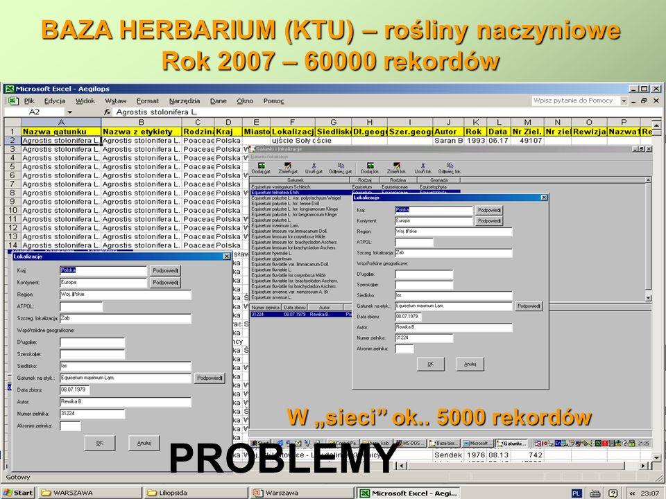 BAZA HERBARIUM (KTU) – rośliny naczyniowe Rok 2007 – 60000 rekordów W sieci ok.. 5000 rekordów PROBLEMY