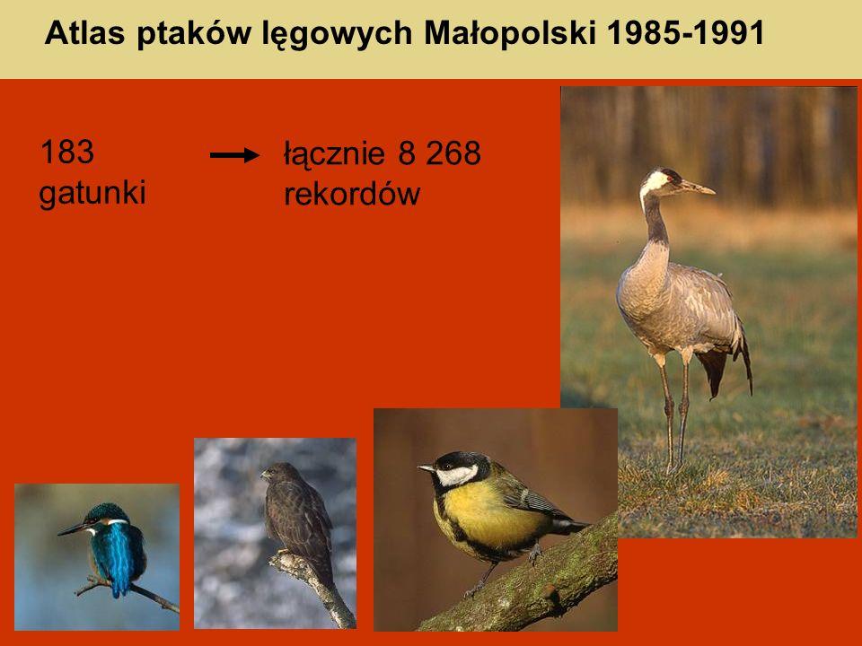 Atlas ptaków lęgowych Małopolski 1985-1991 183 gatunki łącznie 8 268 rekordów