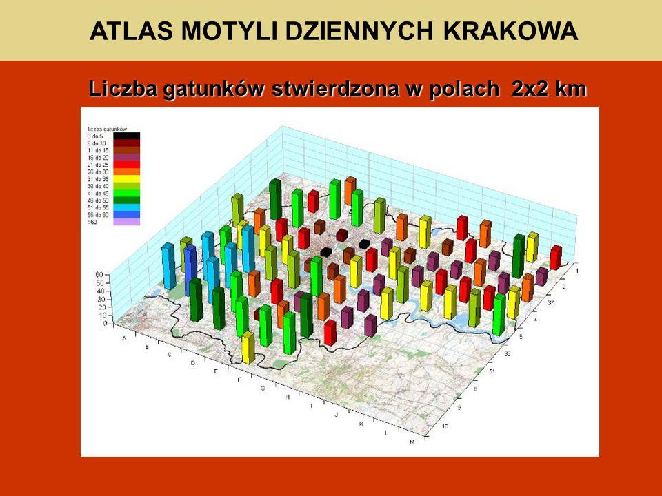 ATLAS MOTYLI DZIENNYCH KRAKOWA Liczba gatunków stwierdzona w polach 2x2 km