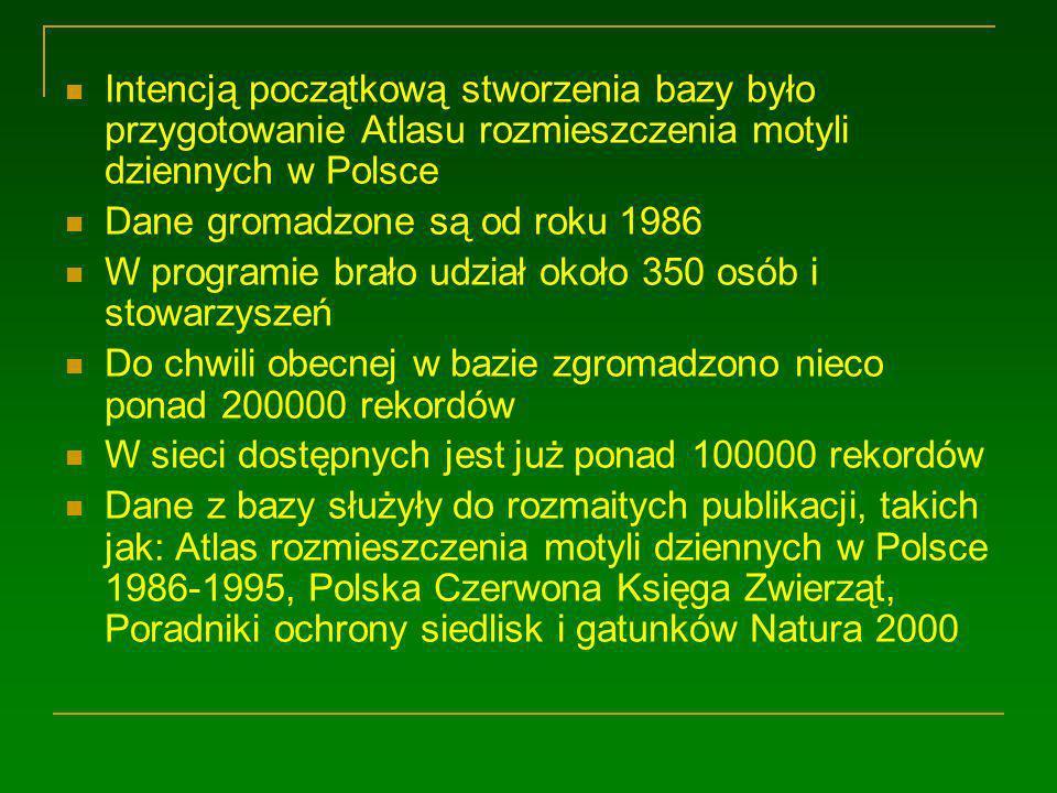 Intencją początkową stworzenia bazy było przygotowanie Atlasu rozmieszczenia motyli dziennych w Polsce Dane gromadzone są od roku 1986 W programie brało udział około 350 osób i stowarzyszeń Do chwili obecnej w bazie zgromadzono nieco ponad 200000 rekordów W sieci dostępnych jest już ponad 100000 rekordów Dane z bazy służyły do rozmaitych publikacji, takich jak: Atlas rozmieszczenia motyli dziennych w Polsce 1986-1995, Polska Czerwona Księga Zwierząt, Poradniki ochrony siedlisk i gatunków Natura 2000