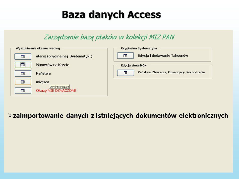 zaimportowanie danych z istniejących dokumentów elektronicznych