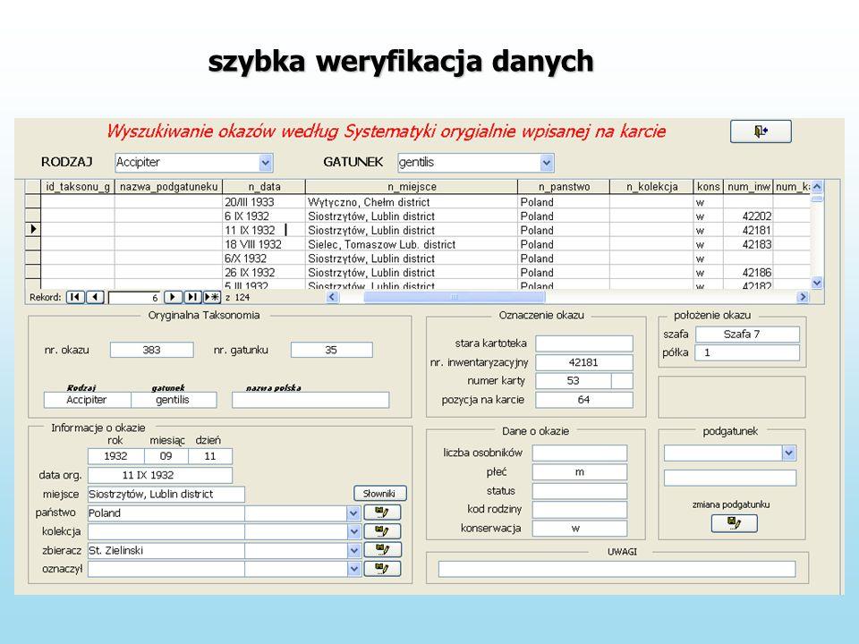 szybka weryfikacja danych
