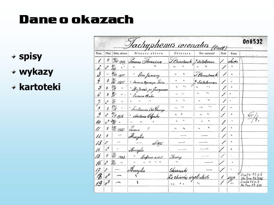 Dane o okazach spisy wykazy kartoteki