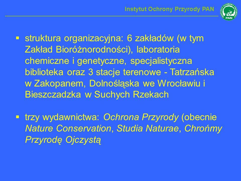 struktura organizacyjna: 6 zakładów (w tym Zakład Bioróżnorodności), laboratoria chemiczne i genetyczne, specjalistyczna biblioteka oraz 3 stacje tere