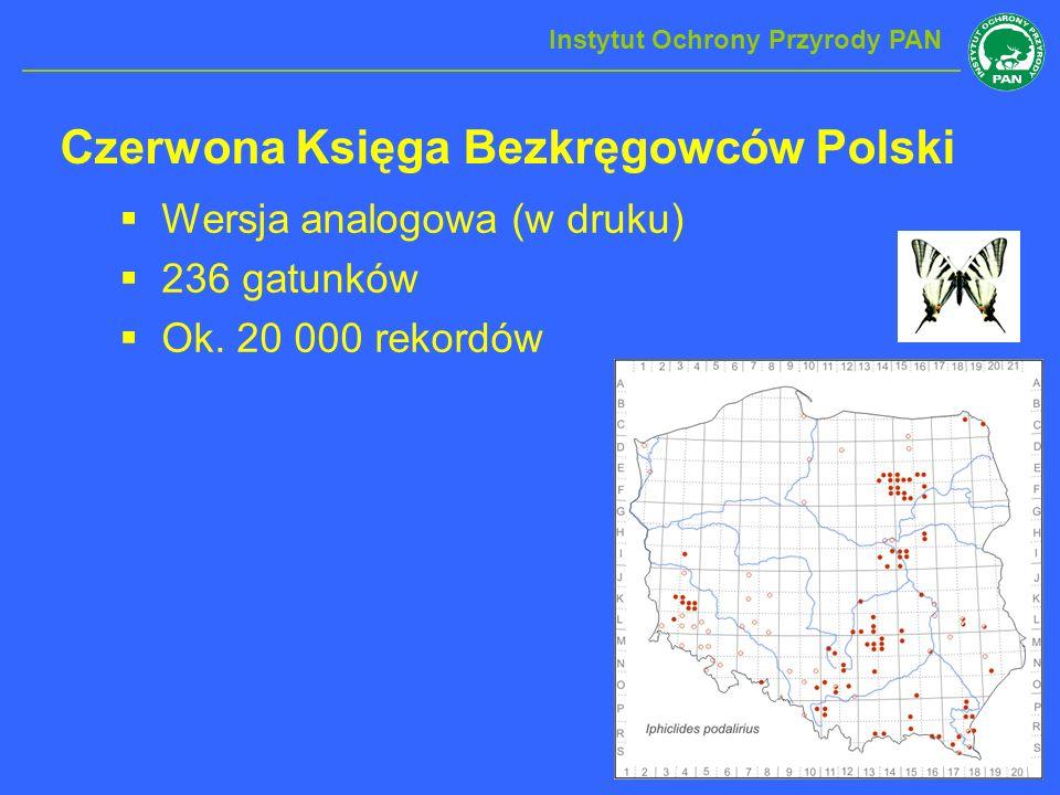 Czerwona Księga Bezkręgowców Polski Wersja analogowa (w druku) 236 gatunków Ok. 20 000 rekordów Instytut Ochrony Przyrody PAN