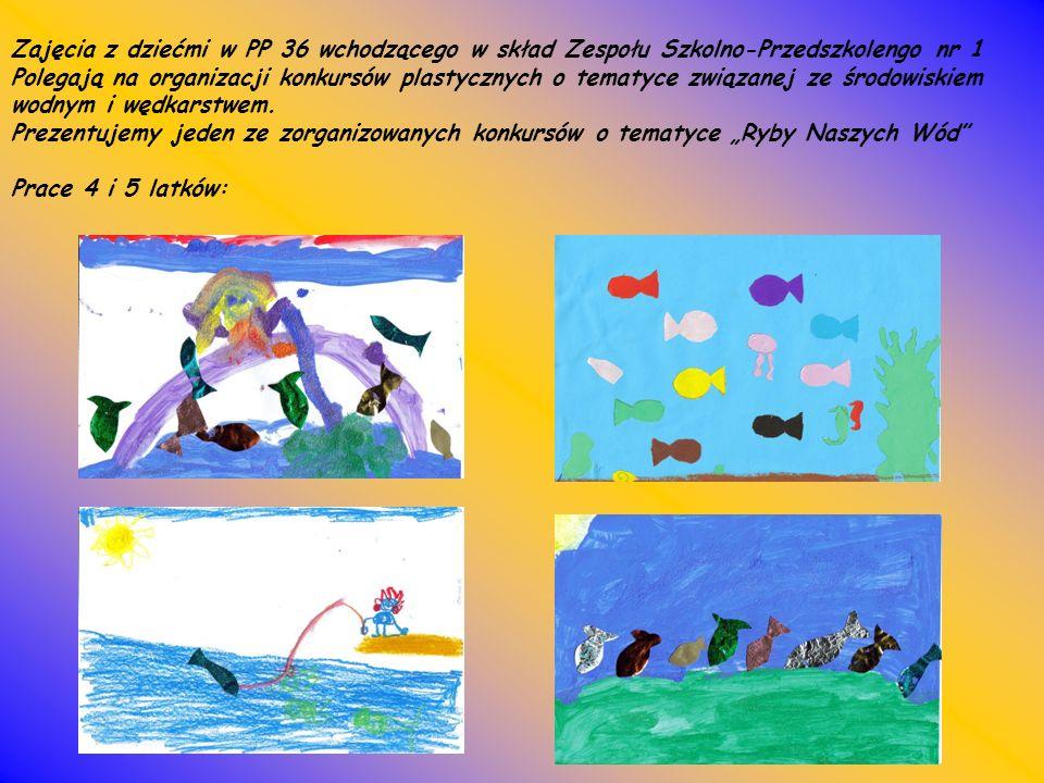 Zajęcia z dziećmi w PP 36 wchodzącego w skład Zespołu Szkolno-Przedszkolengo nr 1 Polegają na organizacji konkursów plastycznych o tematyce związanej ze środowiskiem wodnym i wędkarstwem.