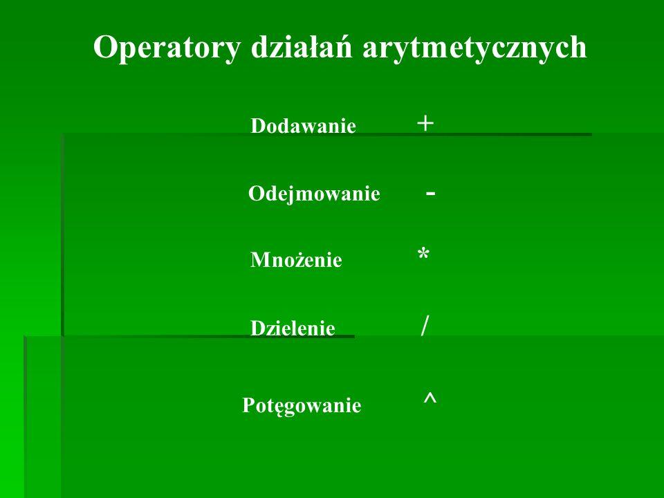 Operatory działań arytmetycznych Dodawanie + Odejmowanie - Mnożenie * Dzielenie / Potęgowanie ^