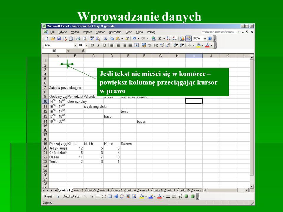 Wprowadzanie danych Jeśli tekst nie mieści się w komórce – powiększ kolumnę przeciągając kursor w prawo