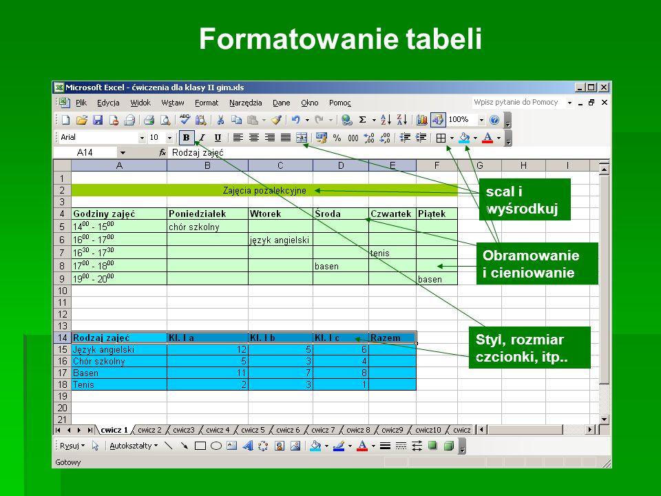 Formatowanie tabeli scal i wyśrodkuj Obramowanie i cieniowanie Styl, rozmiar czcionki, itp..