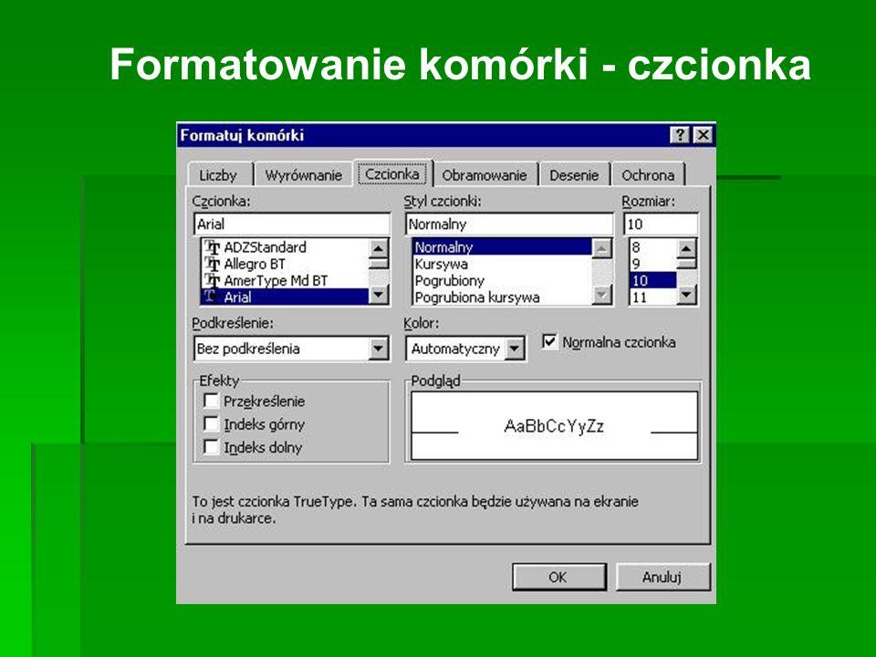 Formatowanie komórki - czcionka