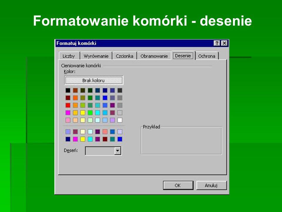 Formatowanie komórki - desenie