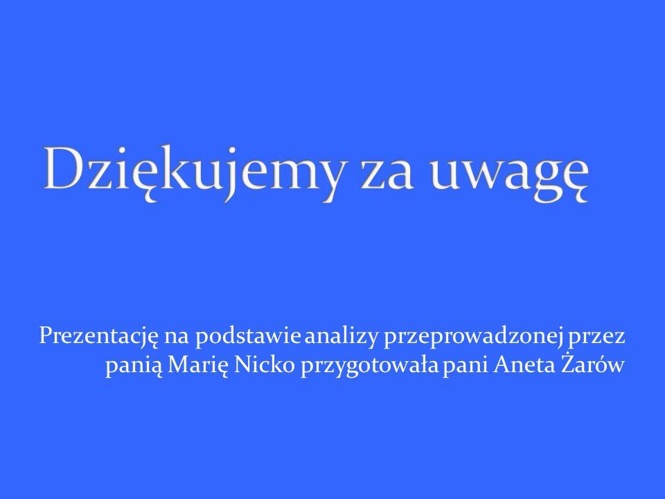Prezentację na podstawie analizy przeprowadzonej przez panią Marię Nicko przygotowała pani Aneta Żarów