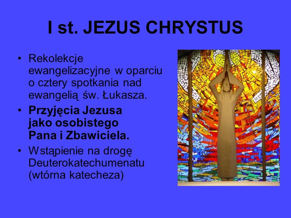 I st. JEZUS CHRYSTUS Rekolekcje ewangelizacyjne w oparciu o cztery spotkania nad ewangelią św. Łukasza. Przyjęcia Jezusa jako osobistego Pana i Zbawic