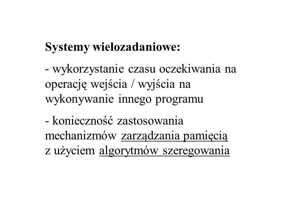 Systemy wielozadaniowe: - wykorzystanie czasu oczekiwania na operację wejścia / wyjścia na wykonywanie innego programu - konieczność zastosowania mechanizmów zarządzania pamięcią z użyciem algorytmów szeregowania