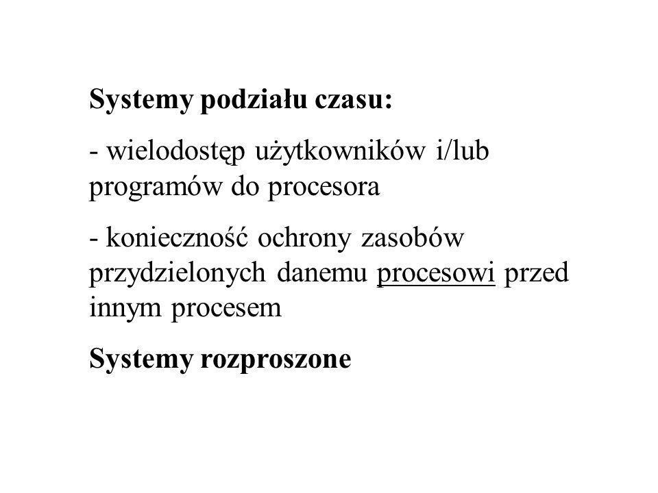 Systemy podziału czasu: - wielodostęp użytkowników i/lub programów do procesora - konieczność ochrony zasobów przydzielonych danemu procesowi przed innym procesem Systemy rozproszone