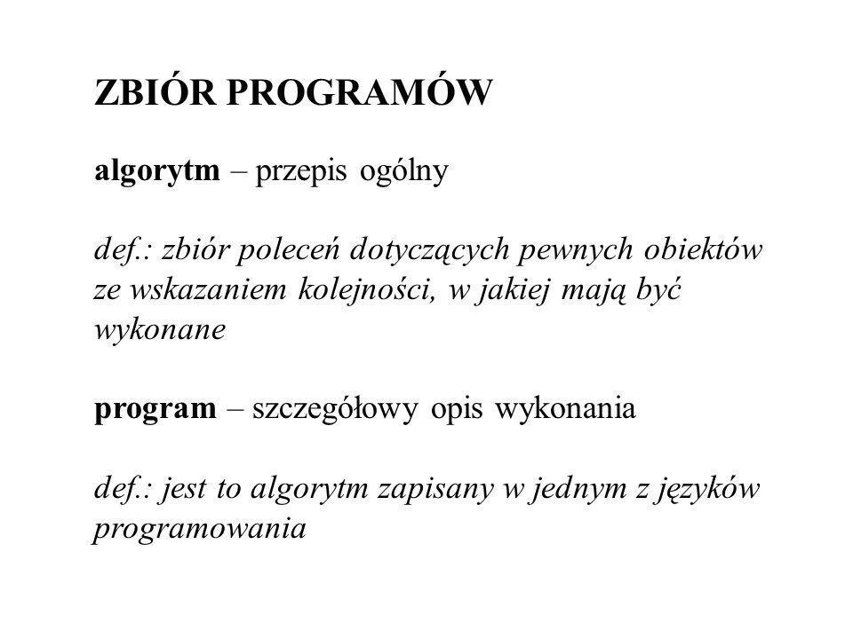 ZBIÓR PROGRAMÓW algorytm – przepis ogólny def.: zbiór poleceń dotyczących pewnych obiektów ze wskazaniem kolejności, w jakiej mają być wykonane program – szczegółowy opis wykonania def.: jest to algorytm zapisany w jednym z języków programowania