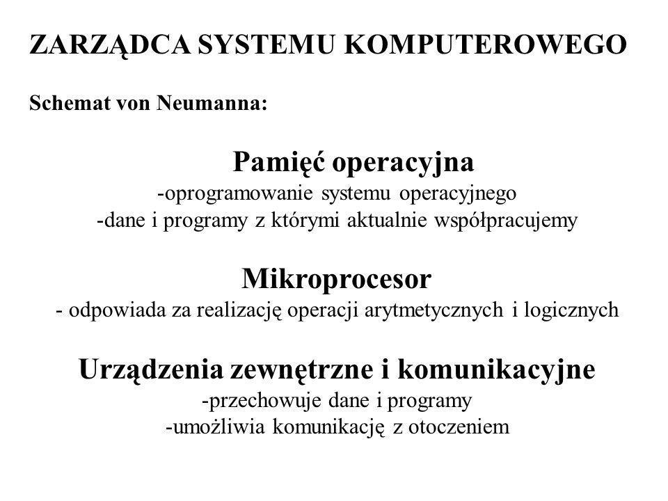 ZARZĄDCA SYSTEMU KOMPUTEROWEGO Schemat von Neumanna: Pamięć operacyjna -oprogramowanie systemu operacyjnego -dane i programy z którymi aktualnie współpracujemy Mikroprocesor - odpowiada za realizację operacji arytmetycznych i logicznych Urządzenia zewnętrzne i komunikacyjne -przechowuje dane i programy -umożliwia komunikację z otoczeniem