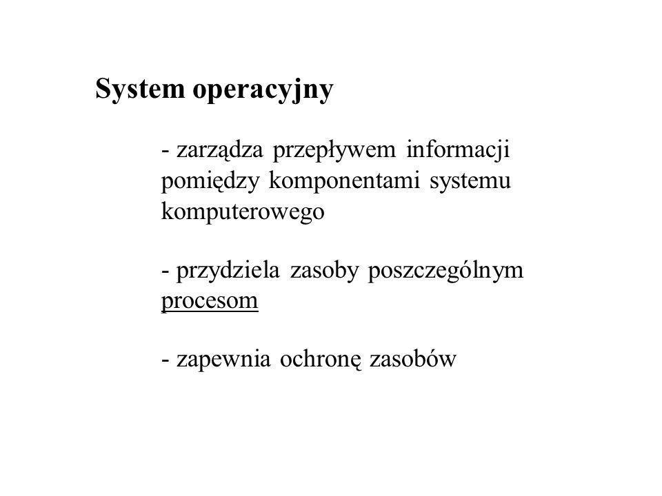 System operacyjny - zarządza przepływem informacji pomiędzy komponentami systemu komputerowego - przydziela zasoby poszczególnym procesom - zapewnia ochronę zasobów
