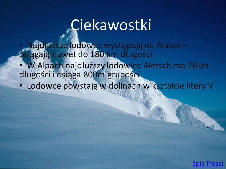 Ciekawostki Najdłuższe lodowce występują na Alasce – osiągają nawet do 180 km długości W Alpach najdłuższy lodowiec Aletsch ma 26km długości i osiąga